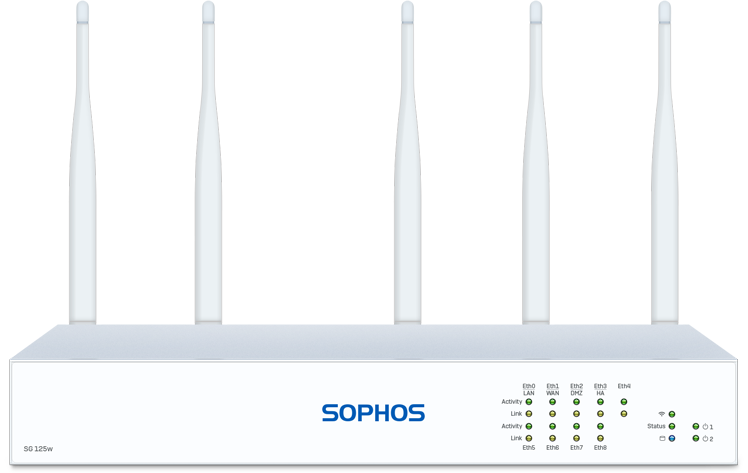 Sophos SG 125w Rev. 3 Security Appliance with WiFi Expansion Slot front